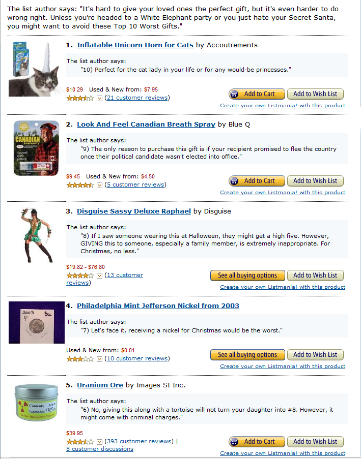 10 worst christmas gift ideas reviews of fifty
