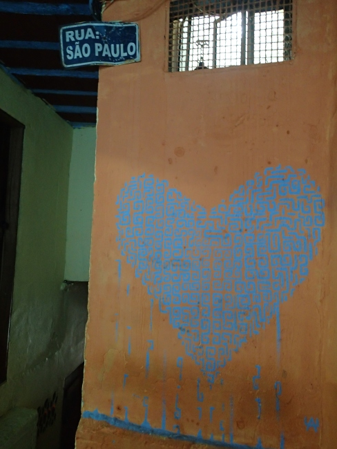 "In some favelas, there are so many alleyways that they decided to give them street names. This ""heart labyrinth"" is beautiful."